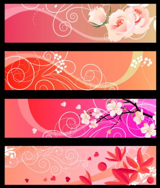 Floral spring red banners