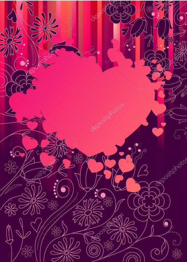 marco con gran corazón rosa — Vector de stock © nurrka #4673350
