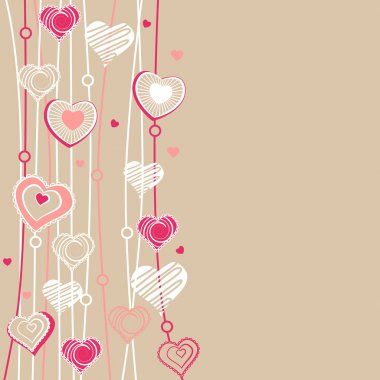 Valentine greeting card with different red hearts clip art vector