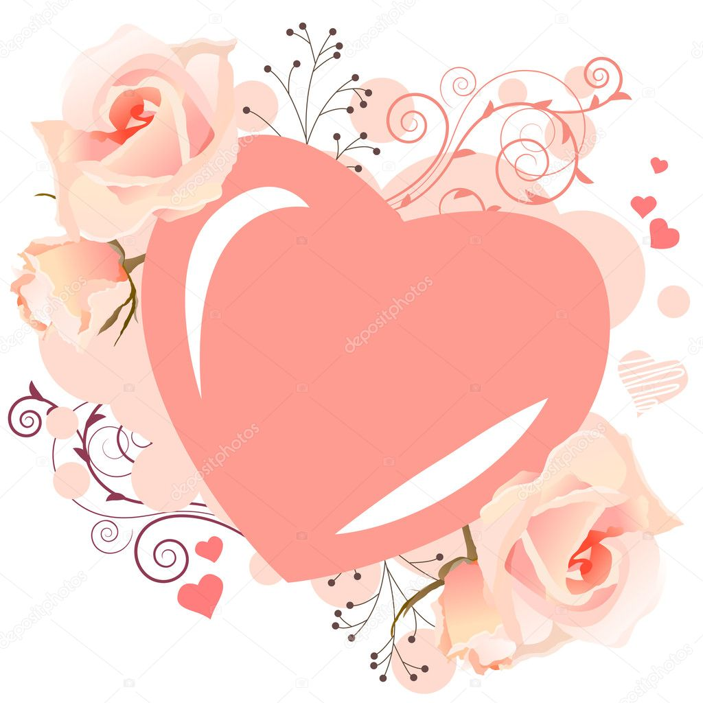 delicate heart shaped frame stock illustration
