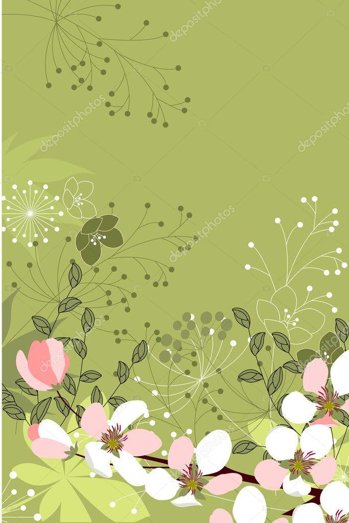 Sfondo Floreale Con Fiori Stilizzati Vettoriali Stock Nurrka