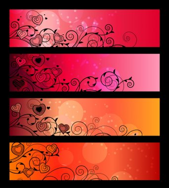 Banners, headers with floral elements