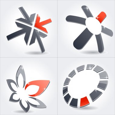 Collection of varios modern abstract metal symbols icon