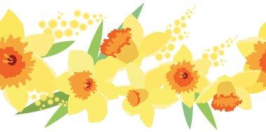 Seamless horizontal daffodil pattern