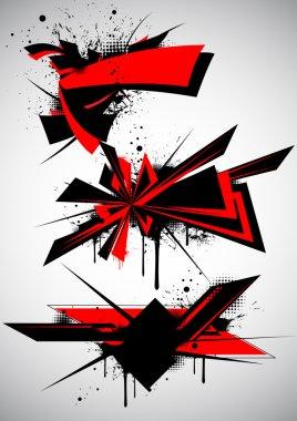 3 red design element. clip art vector