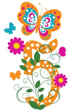 Digit 5 with butterflies and flowers