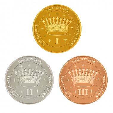 Set of gold, silver and bronze awards with a crown