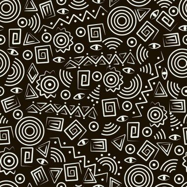 Tribal art. Seamless pattern with abstract figures