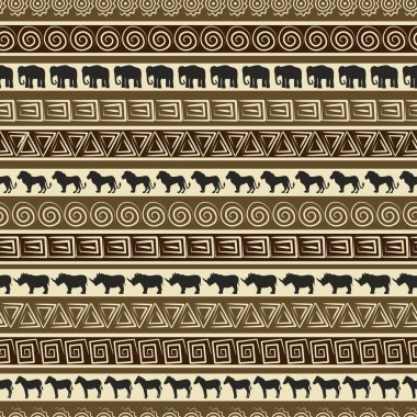 African style seamless pattern with wild animals