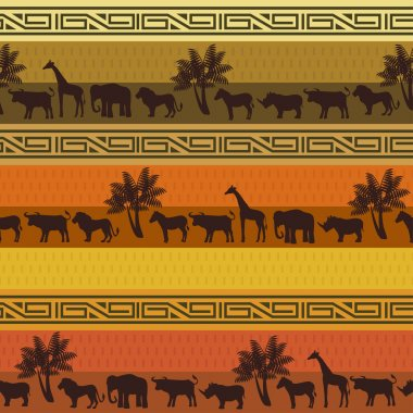 African style background with wild animals and abstract signs