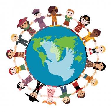 Happy children holding hands around the globe