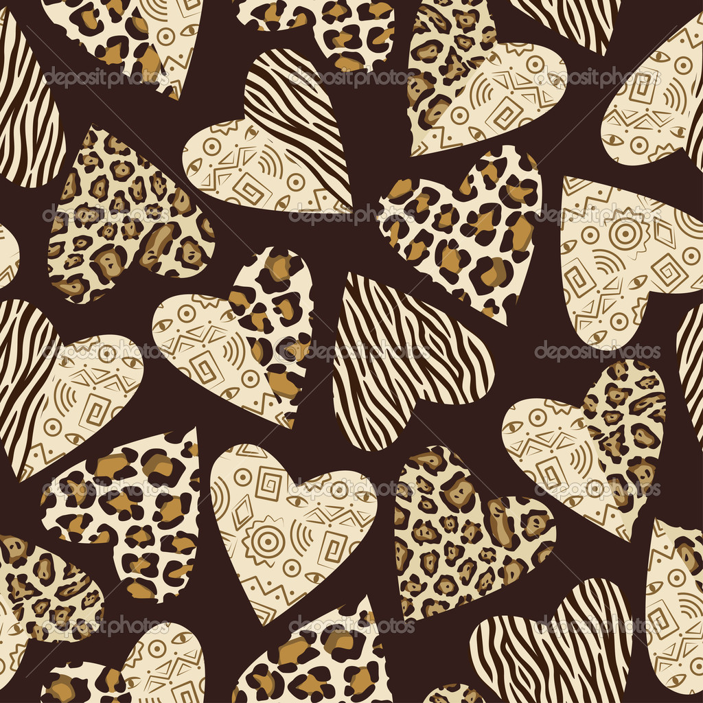 Seamless background with hearts with animal skin pattern