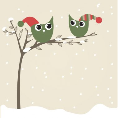 Owls couple in christmas hats on the tree branch. Holiday greetings card