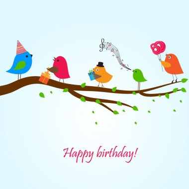 Birthday card with cute birds with flowers and gifts