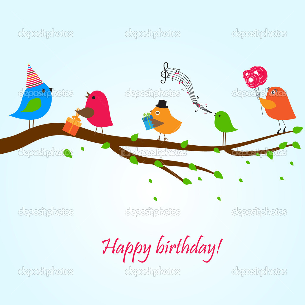 Birthday Card With Cute Birds Flowers And Gifts Stock Vector