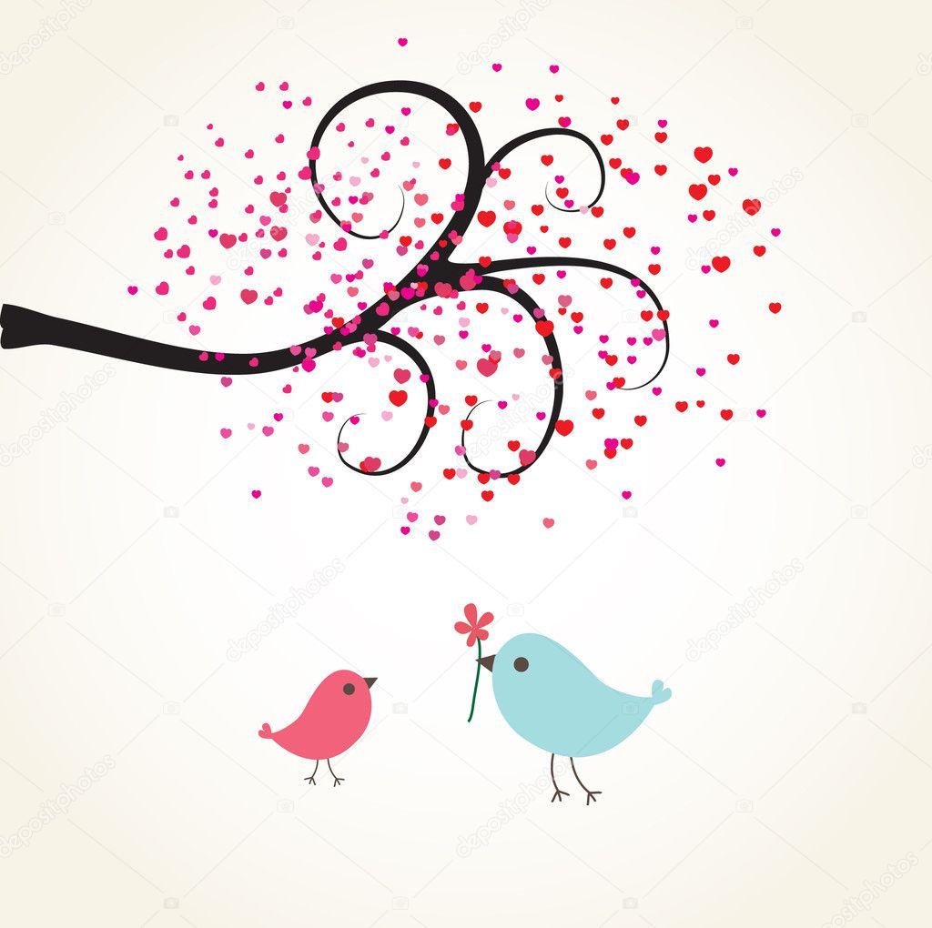 Cute valentines card with birds couple Photo mcherevan – Bird Valentine Card