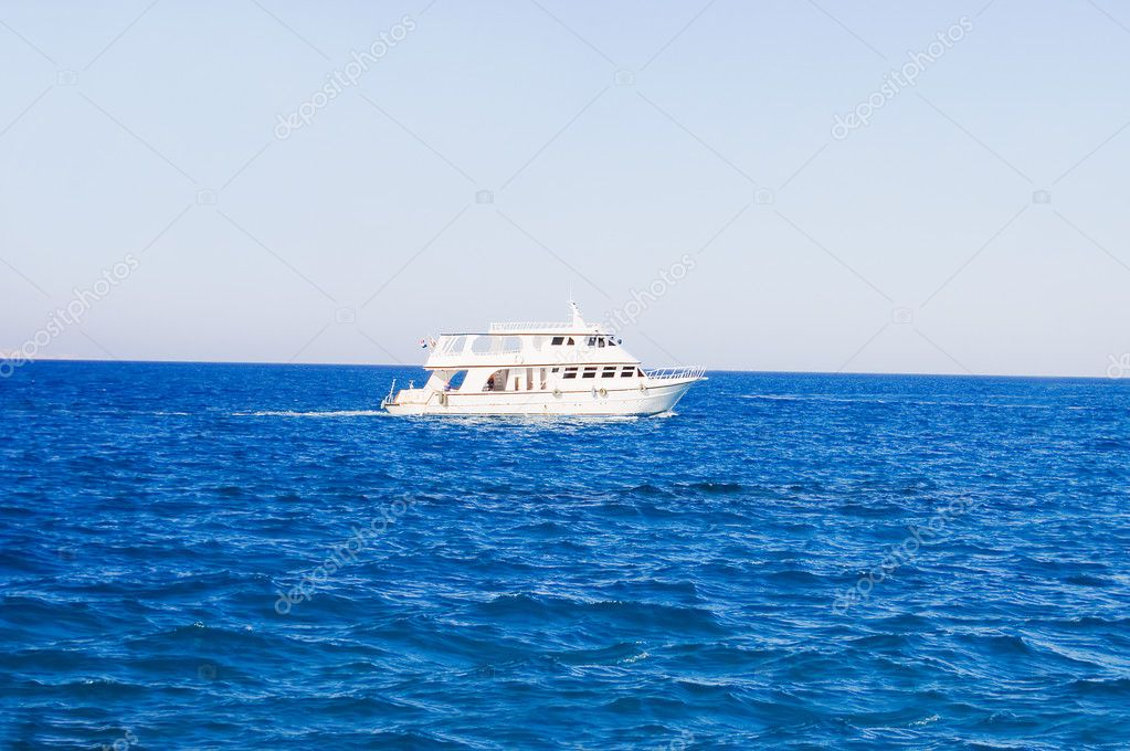 White yacht in the sea