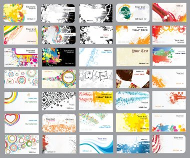 Business cards on different topics
