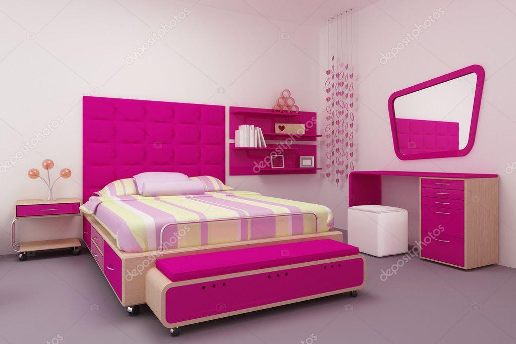 roze en schattig slaapkamer voor meisjes — Stockfoto © adriana13 ...
