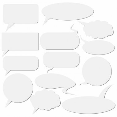 Set of dialog boxes on white background.