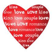 Liebesworte auf einem roten Herzen.