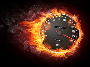 Speedometer in Fire Isolated on Black Background stock vector