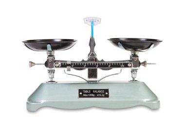 Vintage balance scale on white
