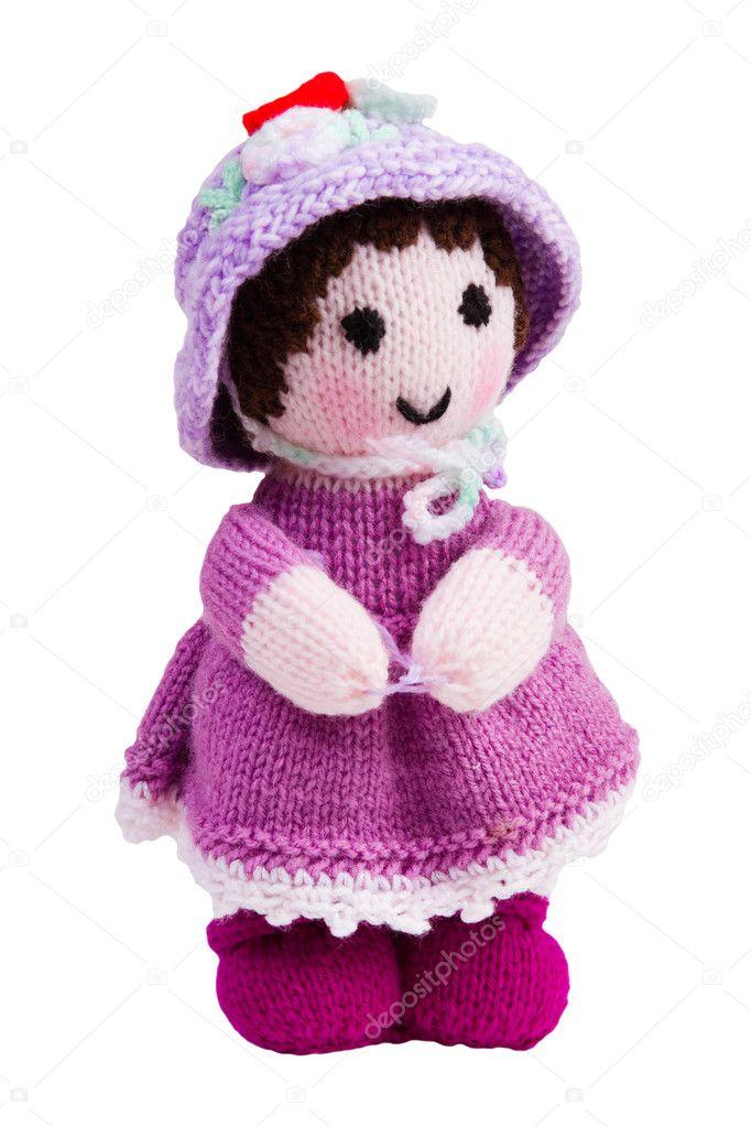 muñeca de juguete tejido a mano, rosa — Foto de stock ...