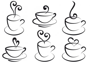 Set of steamy coffee and tea cups, vector stock vector
