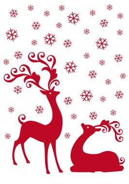 Reindeer in snowfall, vector