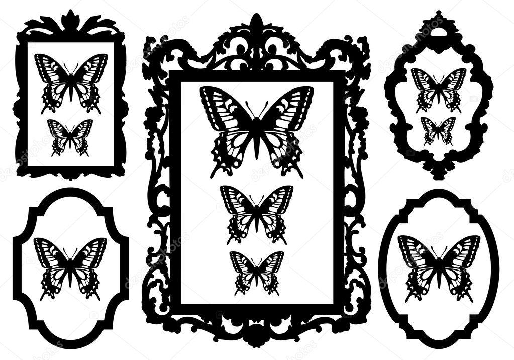 Schmetterlinge im Bilderrahmen, Vektor — Stockvektor © beaubelle ...