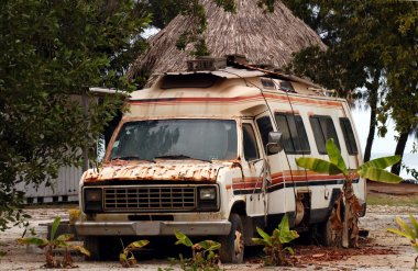 Old rusty trailer van
