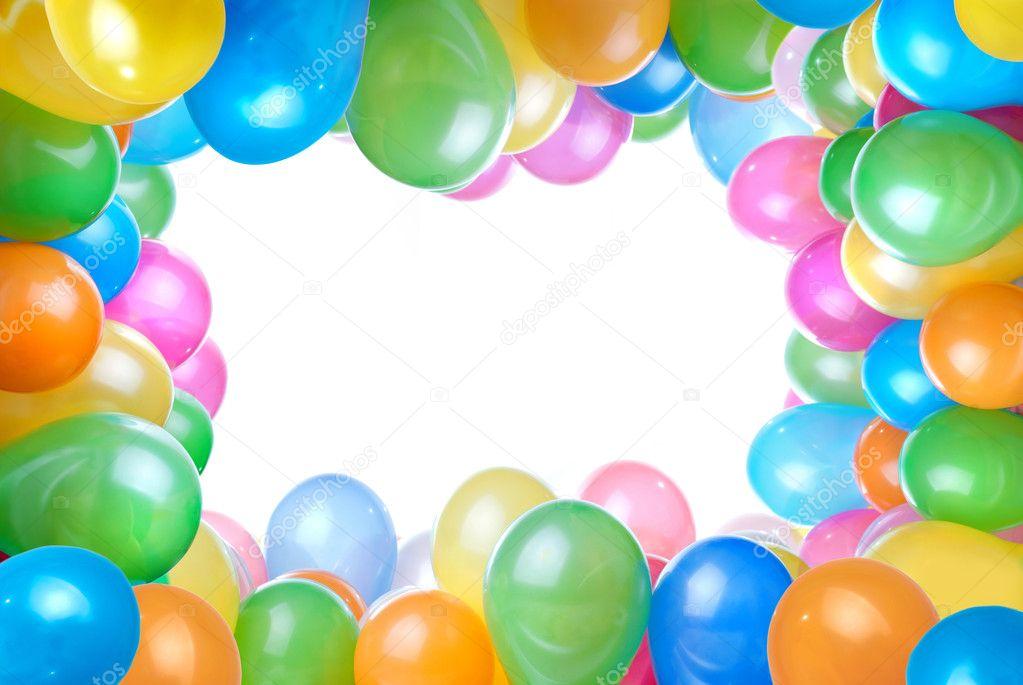 rahmen von farbe ballons, isoliert auf weiss — Stockfoto © artjazz ...