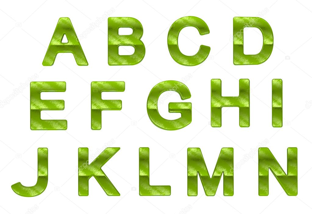 Green ecofriendly A-N letters with grass pattern
