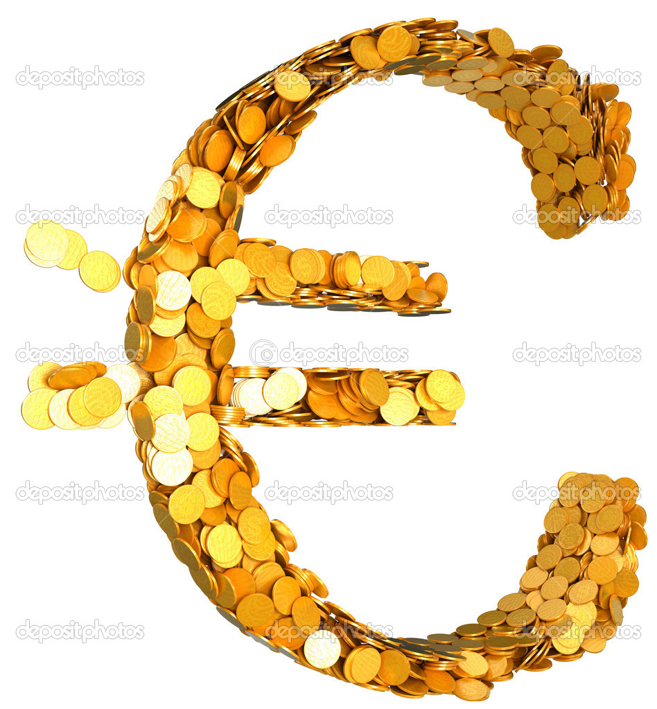 Euro Currency And Wealth Symbol Shaped With Coins Stock Photo