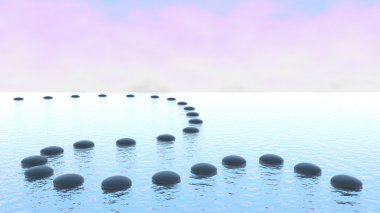Harmony. Pebble path on the water