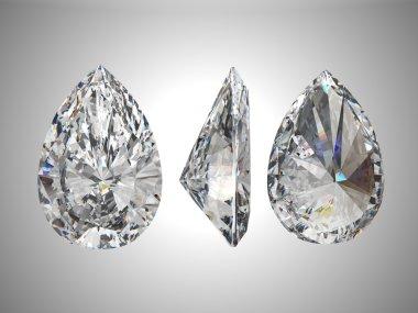 Three views of pear diamond