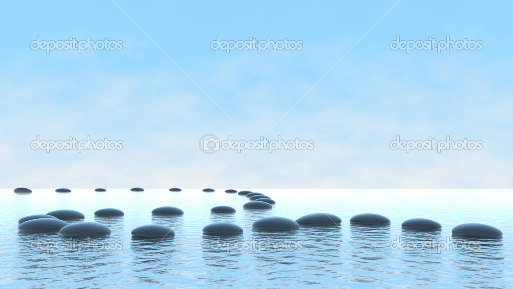 Harmony concept. Pebble path on water