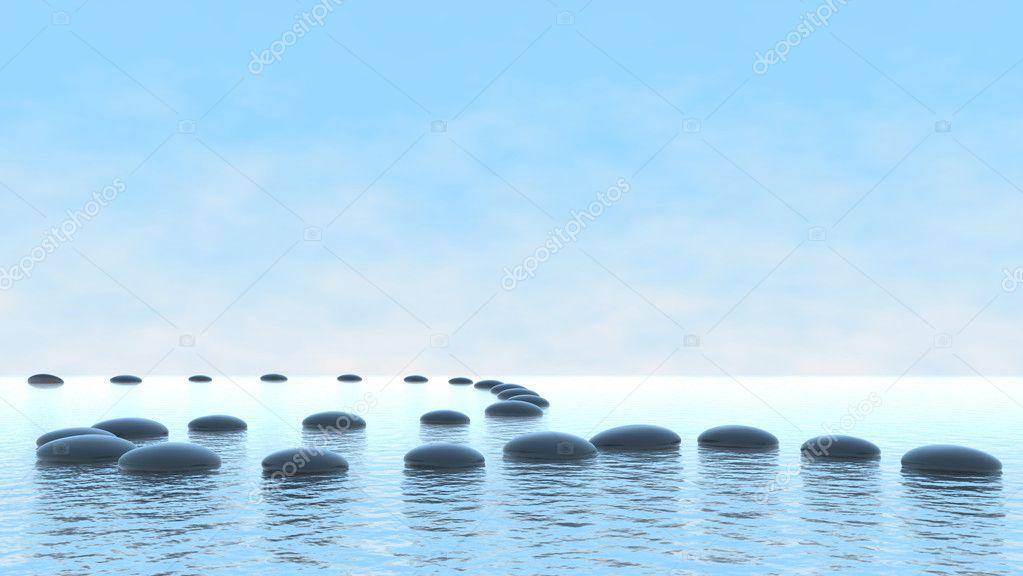 Harmony concept. Pebble path on water