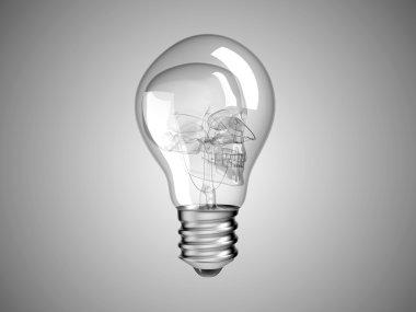 Skull inside Lightbulb - health or death