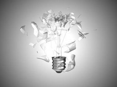 Bad idea. Crushed lightbulb over grey