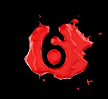 Red blob 6 figure over black background