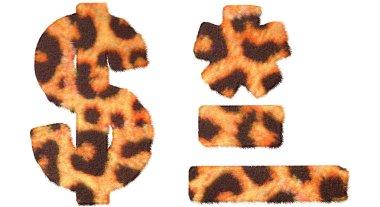 Leopard fell dollar symbol, dash, hyphen and asterisk