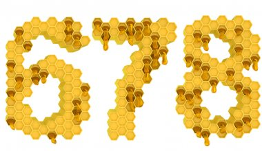 Honey font 6 7 and 8 numerals isolated