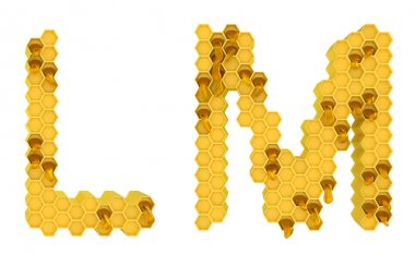 Honey font L and M letters isolated