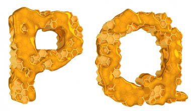 Honey font P and Q letters isolated