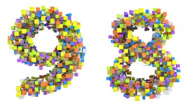 Abstract cubic font 8 and 9 figures