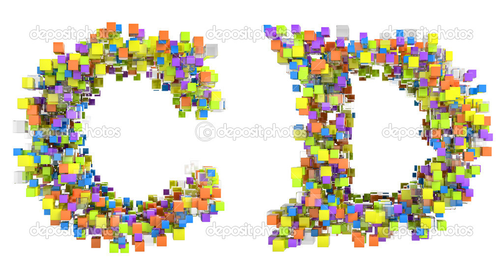 abstrakte Würfel Schrift c und d Buchstaben isoliert — Stockfoto ...