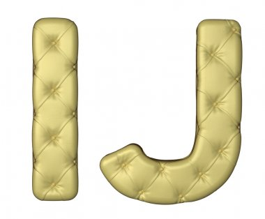 Luxury beige leather font I J letters