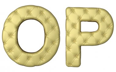 Luxury beige leather font O P letters